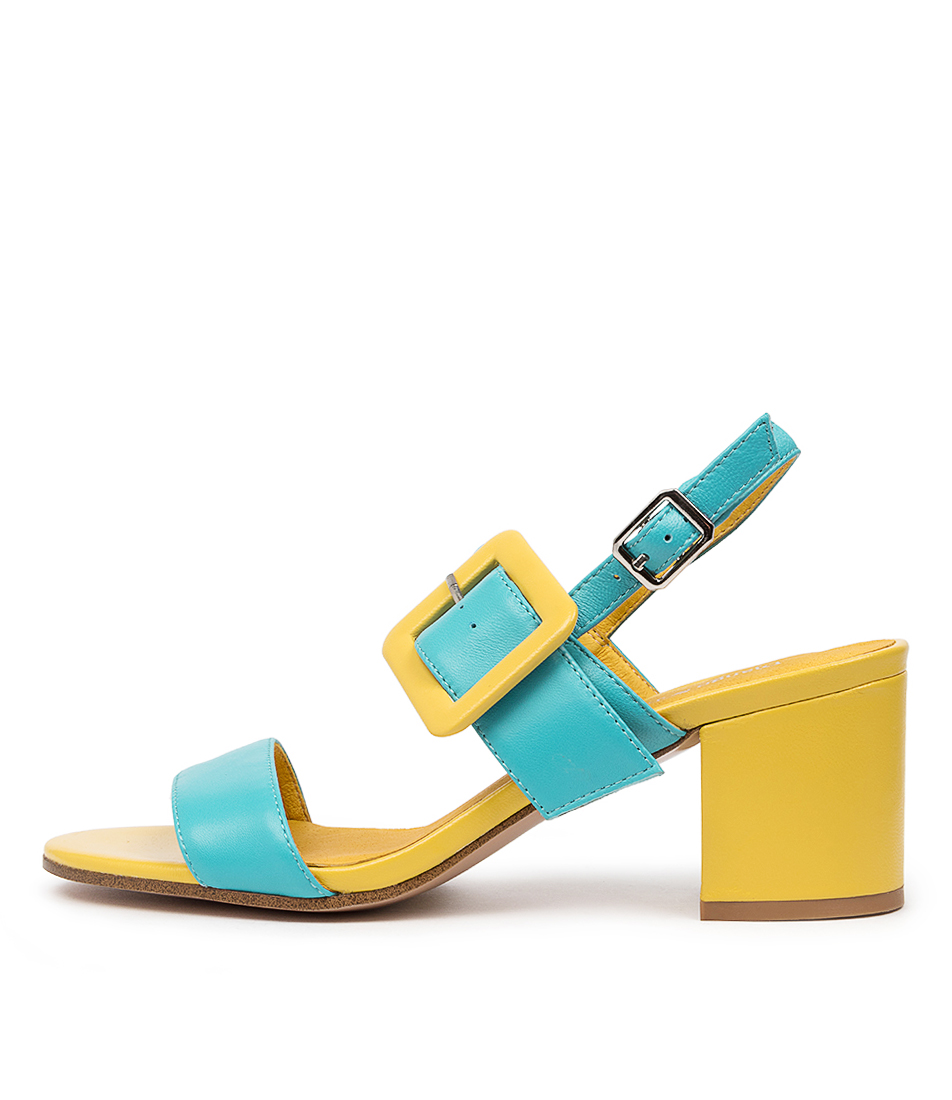 Buy Django & Juliette Rico Dj Aqua Yellow Heeled Sandals online with free shipping