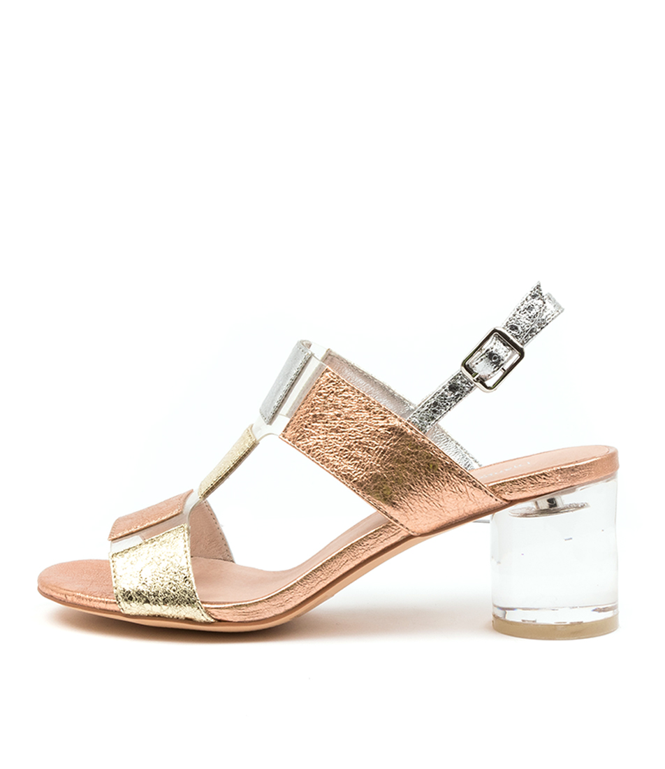 Buy Django & Juliette Seymour Dj Gold Multi Clear Heeled Sandals online with free shipping