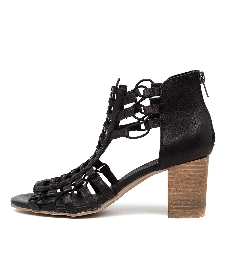 Buy Django & Juliette Sonya Dj Black Natural Heel Heeled Sandals online with free shipping