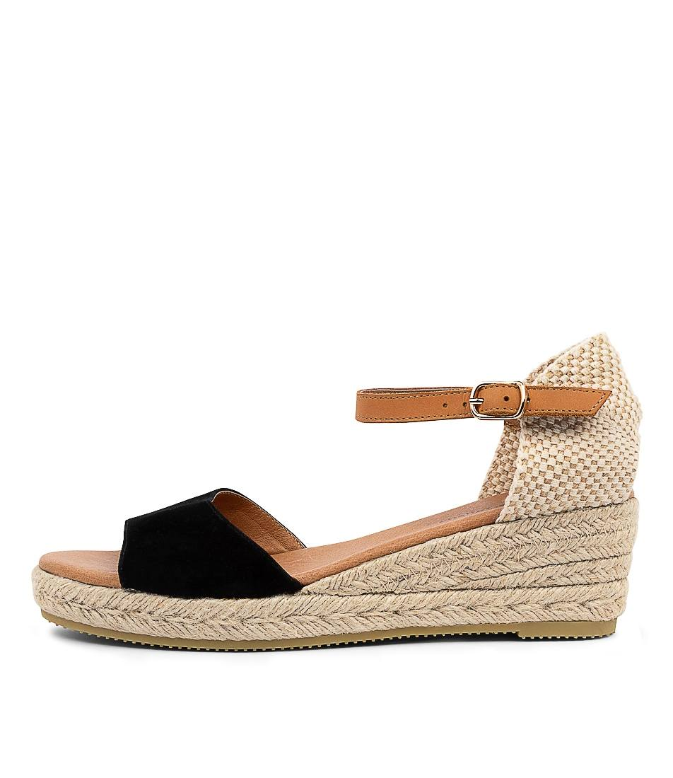 Buy Django & Juliette Suzy Dj Black Lt Tan Heeled Sandals online with free shipping