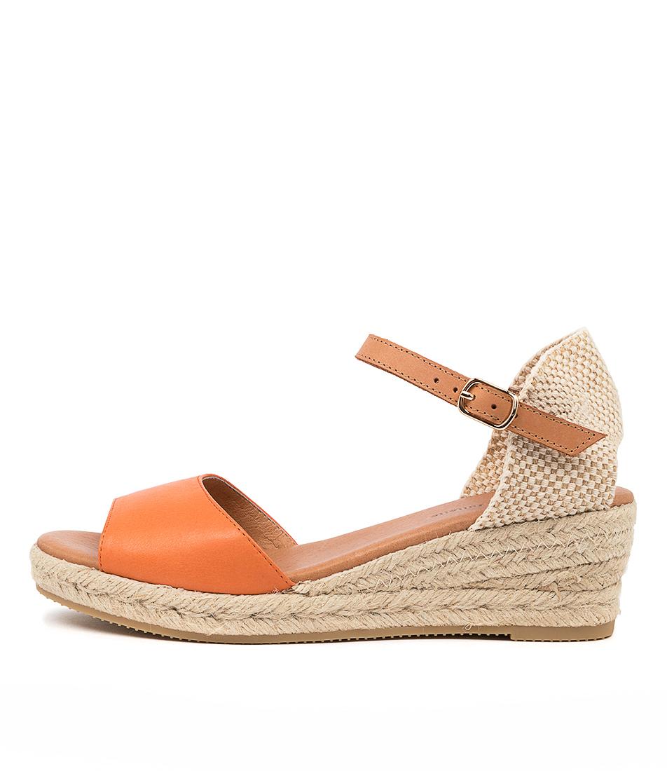 Buy Django & Juliette Suzy Dj Bright Orange Lt Tan Heeled Sandals online with free shipping
