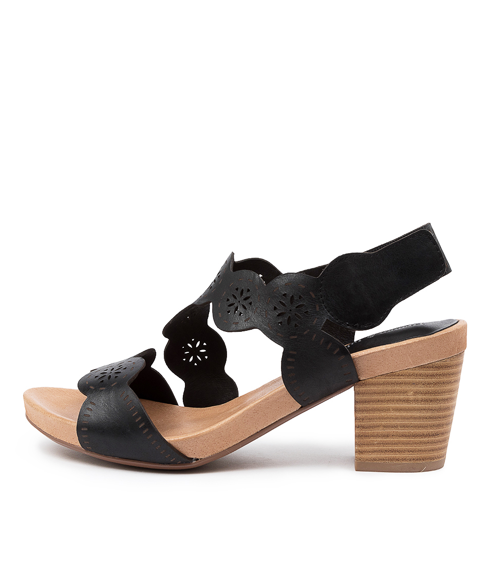 Buy Django & Juliette Zupply Dj Black Natural Heel Heeled Sandals online with free shipping