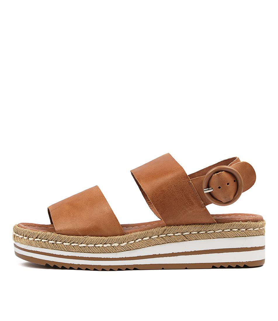 Buy Django & Juliette Atha Djl Dk Tan Flat Sandals online with free shipping