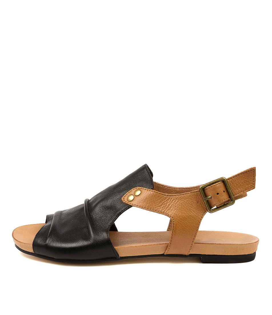 Buy Django & Juliette Jered Djl Black Dk Tan Flat Sandals online with free shipping