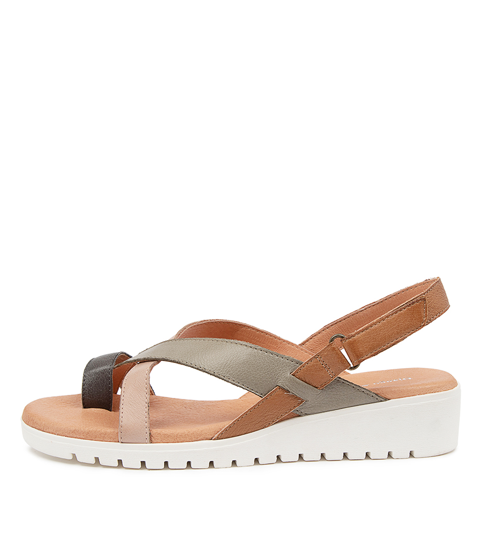 Buy Django & Juliette Fronie Gmdj Tan Multi Flat Sandals online with free shipping