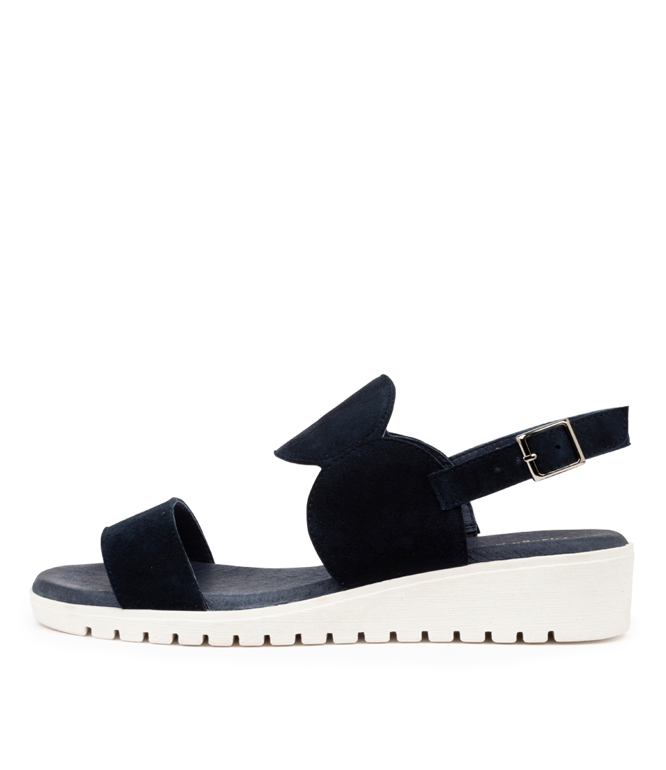 Buy Django & Juliette Moswell Dj Navy White Sole Flat Sandals online with free shipping