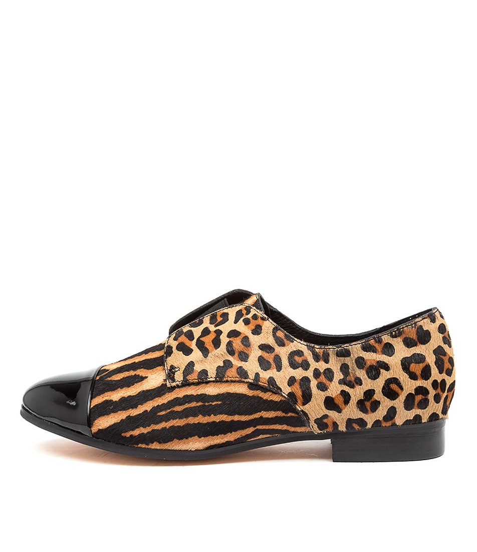 Buy Django & Juliette Josie Dj Black Tan Zebra Flats online with free shipping