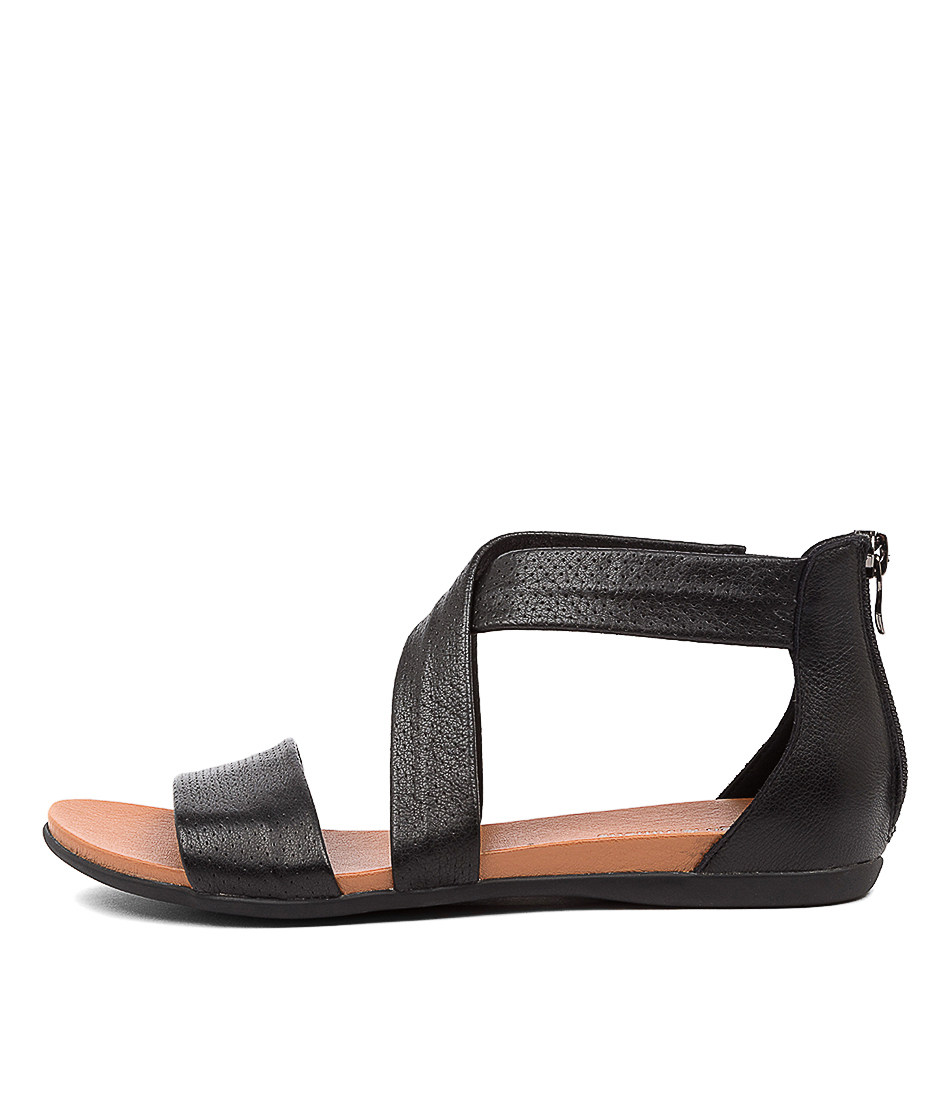 Buy Django & Juliette Barron Dj Black Flat Sandals online with free shipping