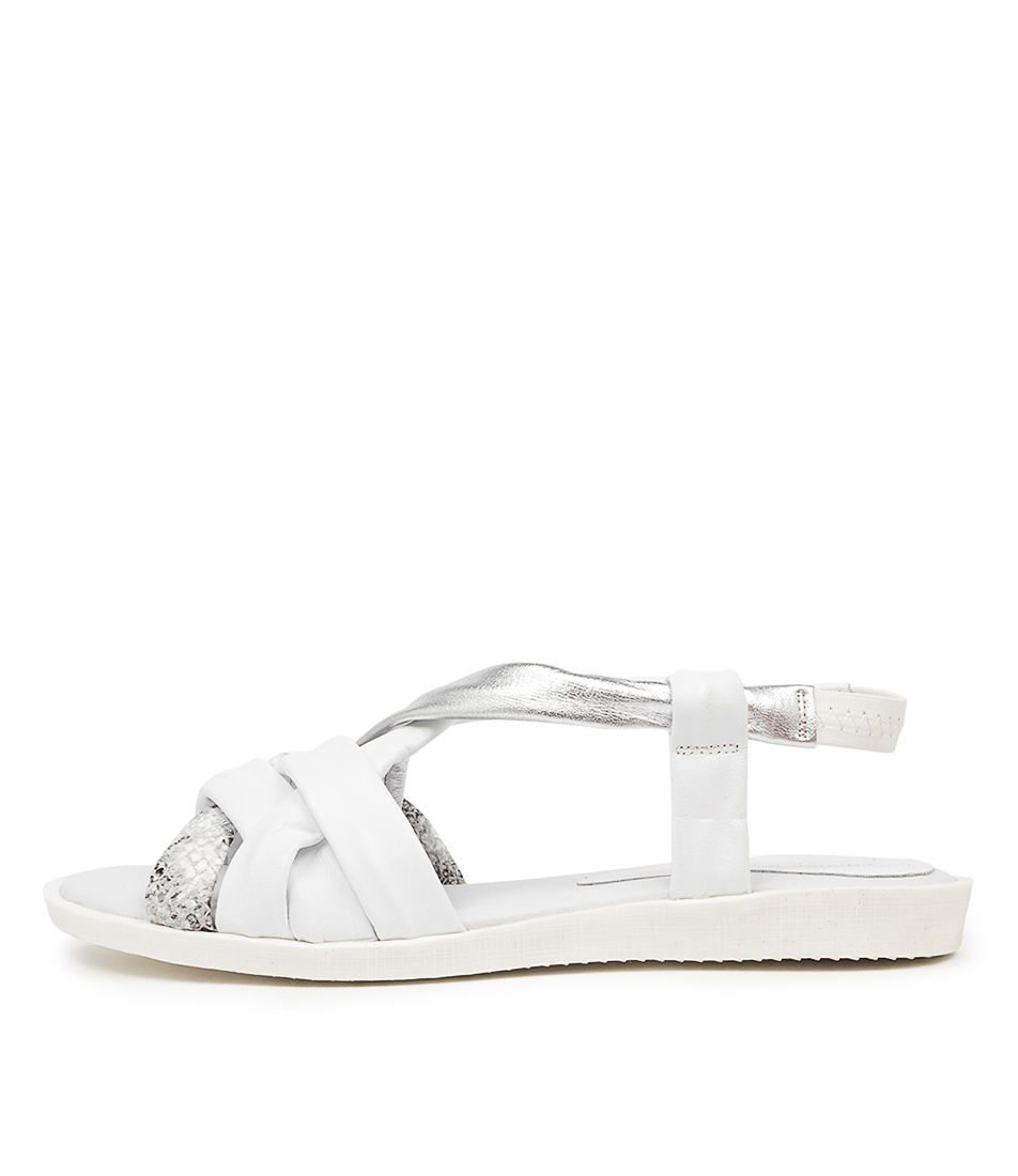Buy Django & Juliette Mafra Dj White Flat Sandals online with free shipping
