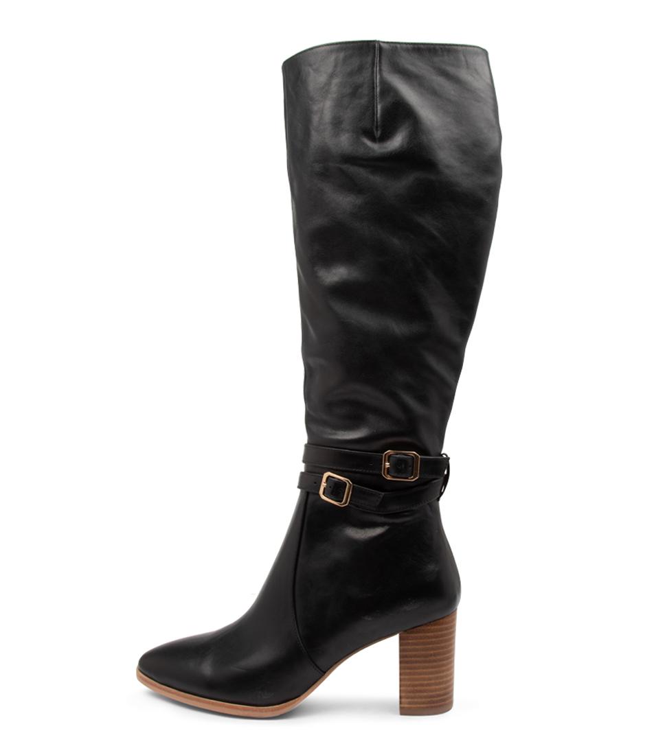 Buy Django & Juliette Andrea Dj Black Natural Heel Long Boots online with free shipping