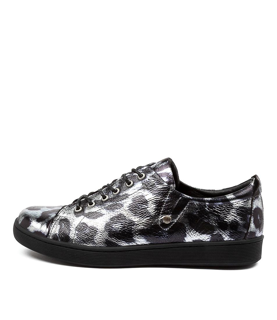 Buy Django & Juliette Dempsere Dj Black & Pewter Ocelot Sneakers online with free shipping