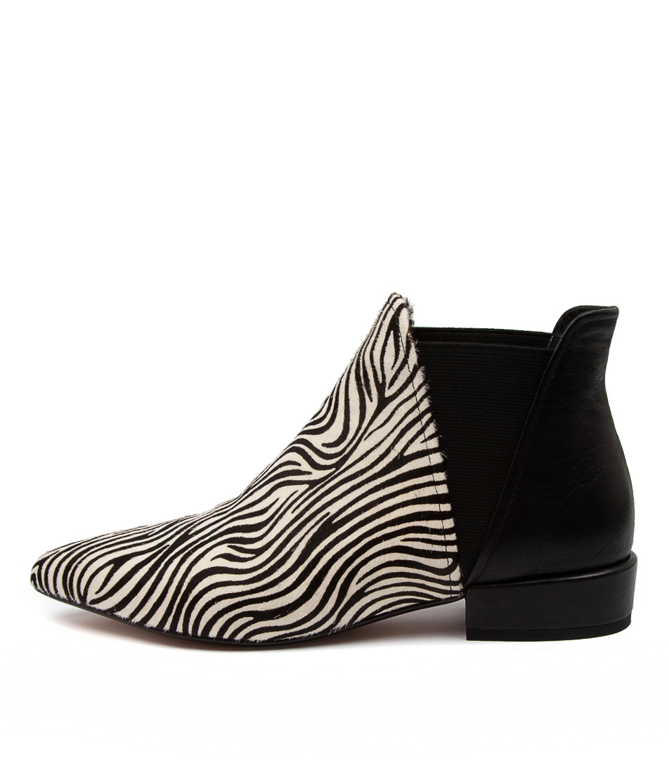 Buy Django & Juliette Evelyn Dj White Zebra Black Ankle Boots online with free shipping