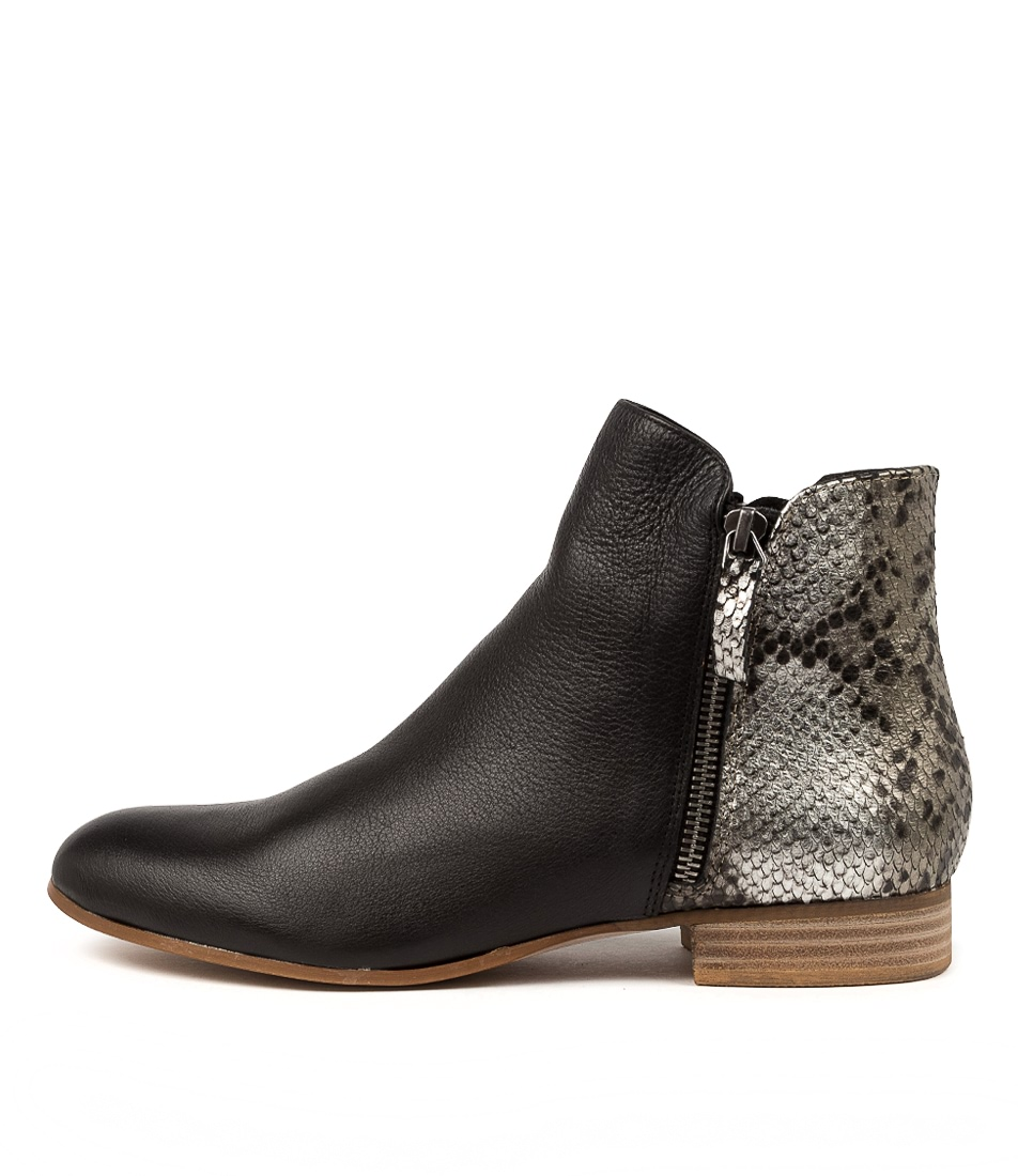 Buy Django & Juliette Fabro Dj Black Pewter Ankle Boots online with free shipping