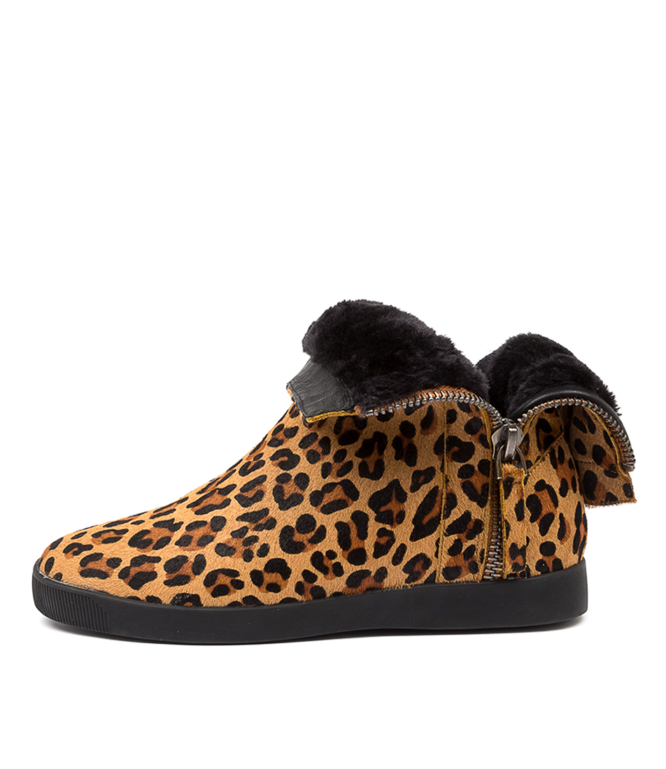 Buy Django & Juliette Gospal Dj Leopard Black Ankle Boots online with free shipping
