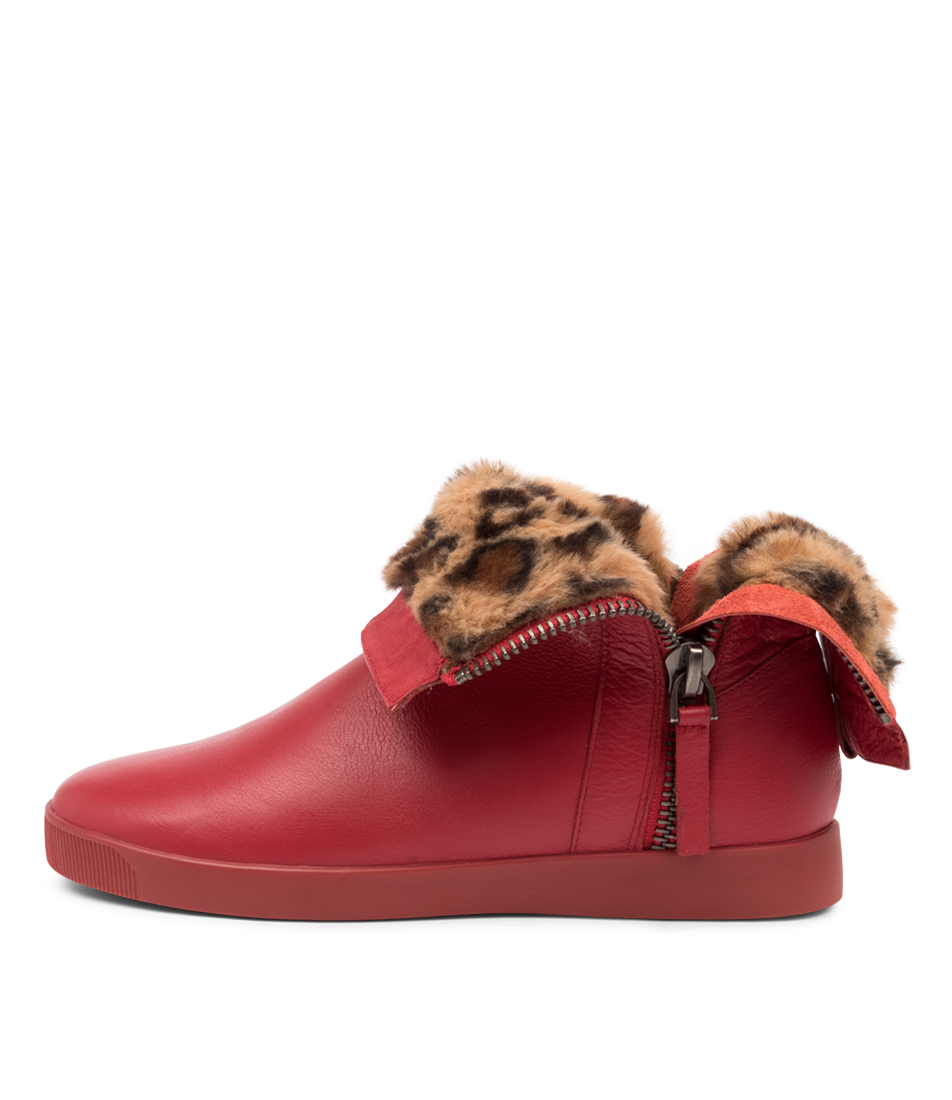 Buy Django & Juliette Gospal Dj Red Leopard Ankle Boots online with free shipping