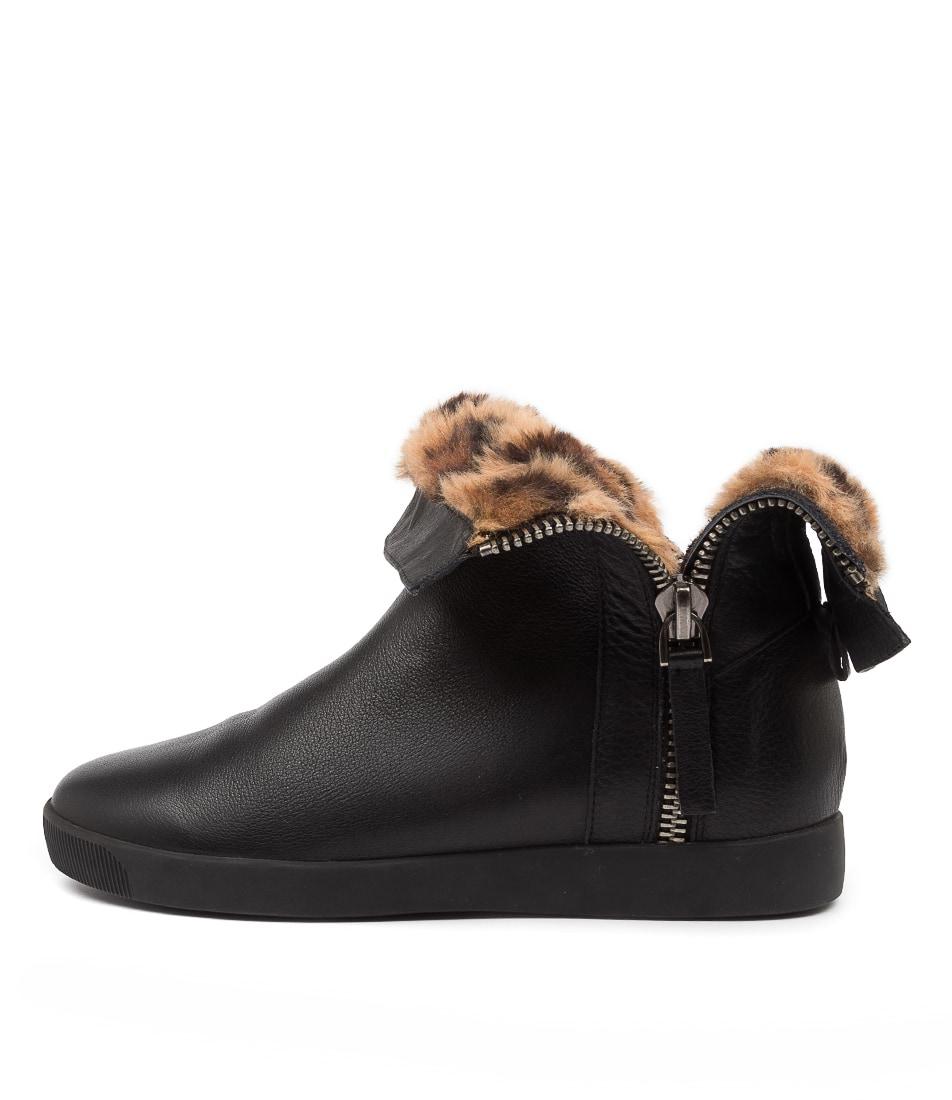 Buy Django & Juliette Gospal Dj Black Leopard Ankle Boots online with free shipping