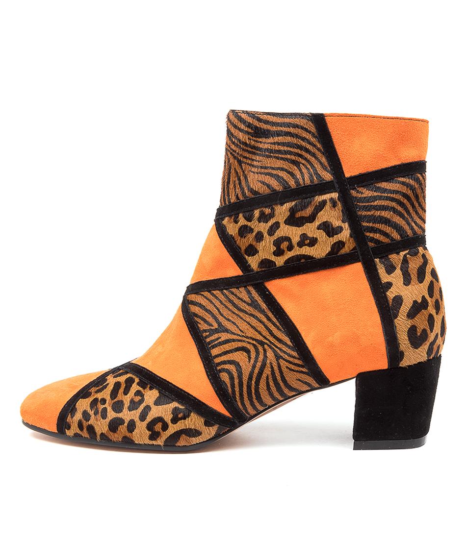 Buy Django & Juliette Helo Dj Orange Leopard Dress Ankle Boots online with free shipping