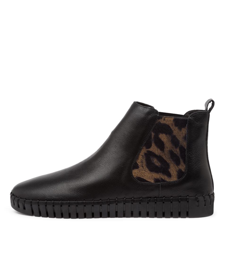 Buy Django & Juliette Horton Dj Black Leopard Ankle Boots online with free shipping