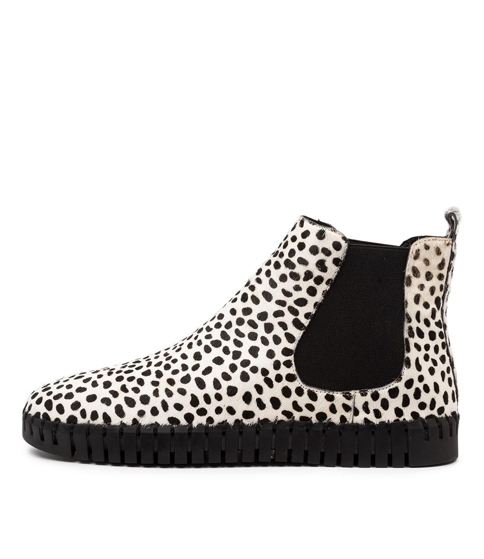 Buy Django & Juliette Horton Dj White Dot Black Sole Ankle Boots online with free shipping