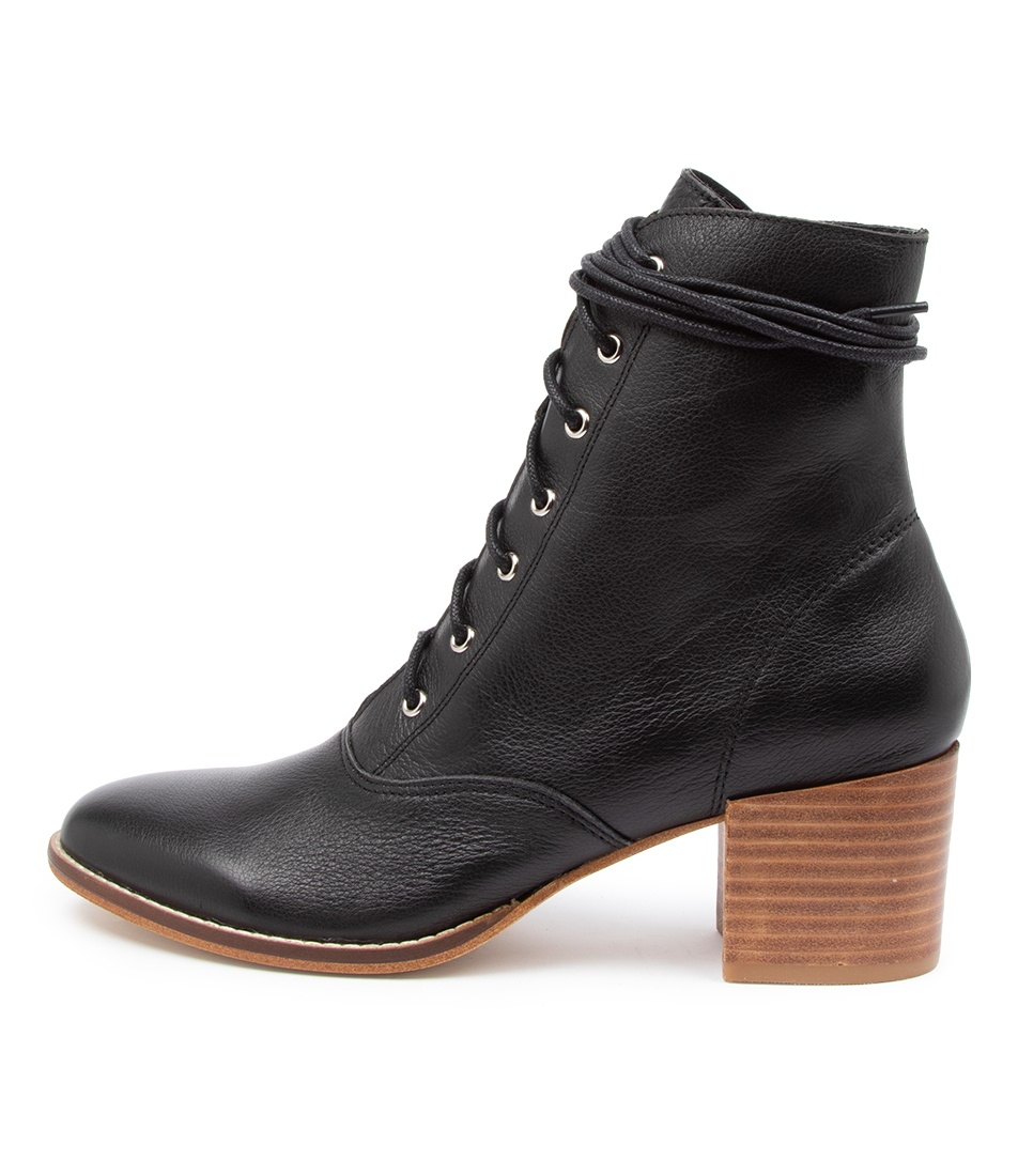 Buy Django & Juliette Matza Dj Black Natural Heel Ankle Boots online with free shipping