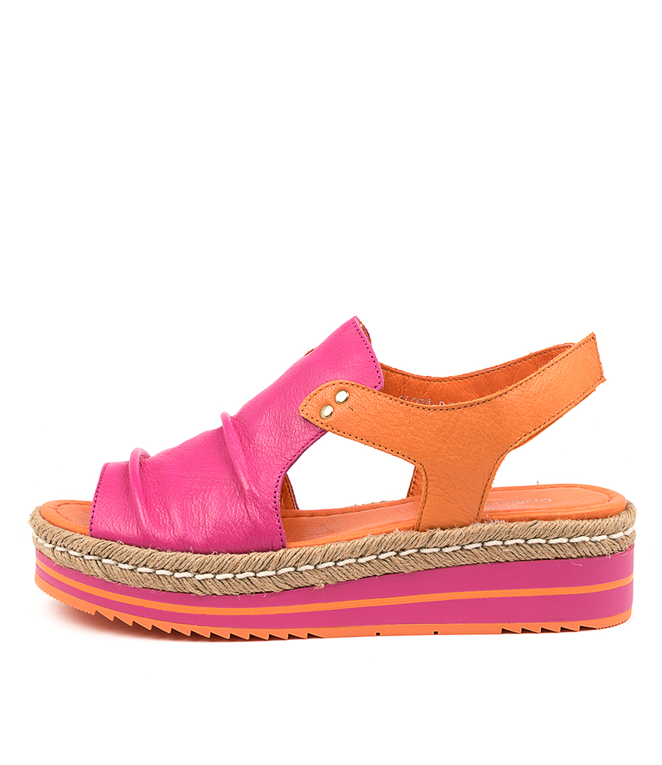 Buy Django & Juliette Alora Dj Fuchsia Bright Orange Flat Sandals online with free shipping