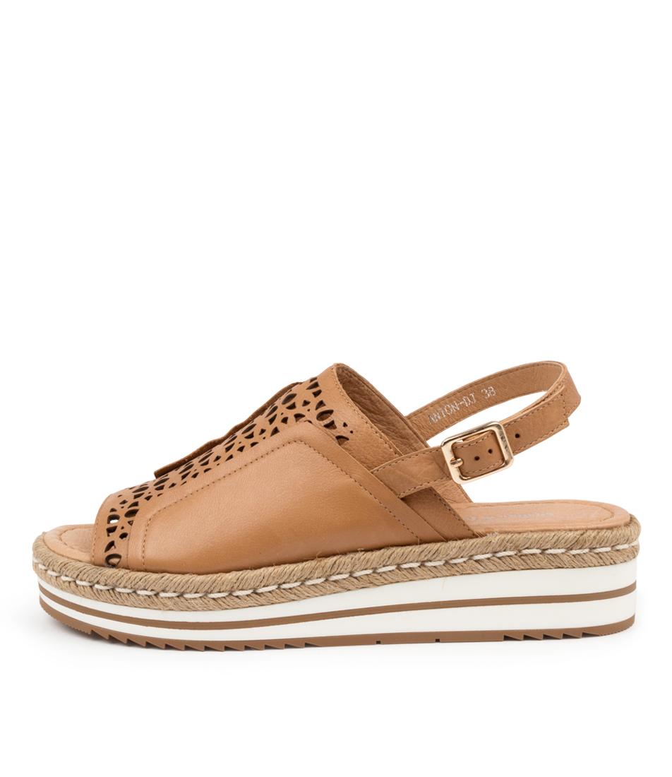 Buy Django & Juliette Anton Dj Dk Tan Flat Sandals online with free shipping