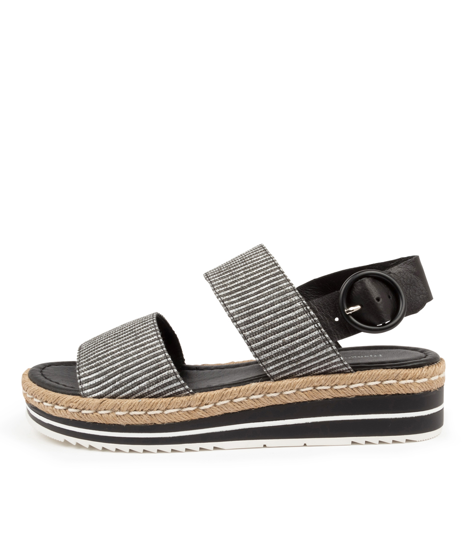 Buy Django & Juliette Arts Dj Black & White Bla Flat Sandals online with free shipping