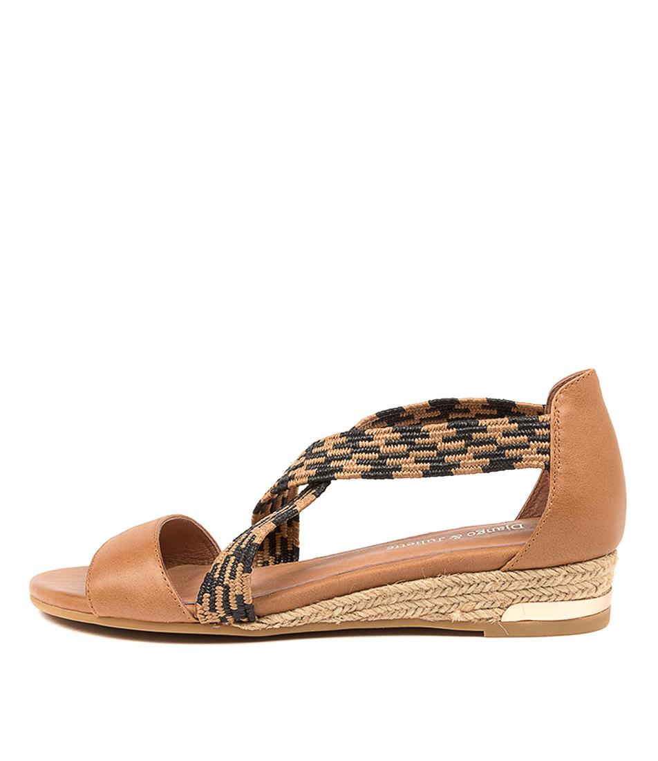 Buy Django & Juliette Cherri Dj Tan Tan & Black Flat Sandals online with free shipping