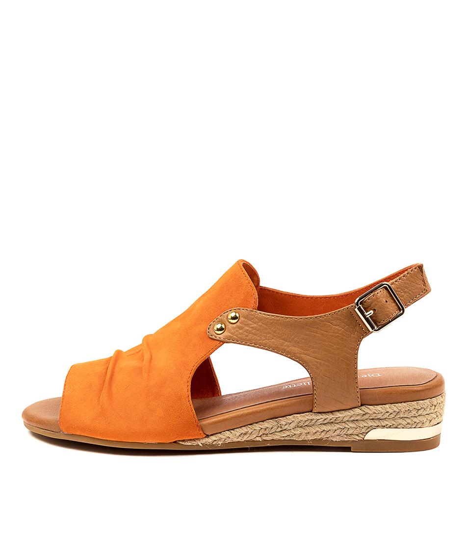 Buy Django & Juliette Cleda Dj Orange Tan Flat Sandals online with free shipping