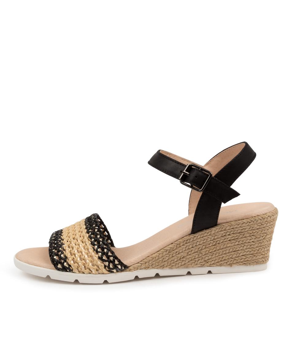 Buy Django & Juliette Doshia Dj Black & Natural Black Heeled Sandals online with free shipping