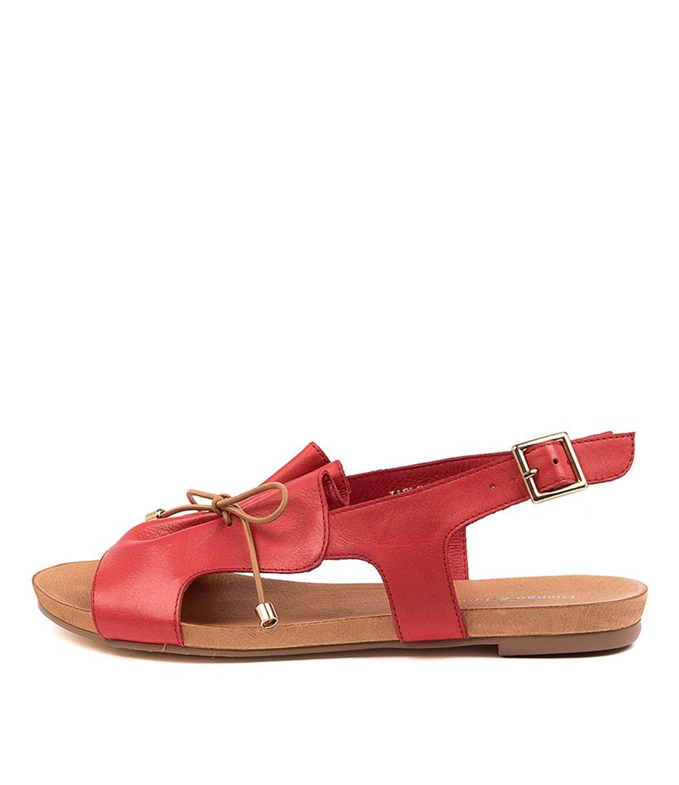 Buy Django & Juliette Jaels Dj Red Tan Flat Sandals online with free shipping