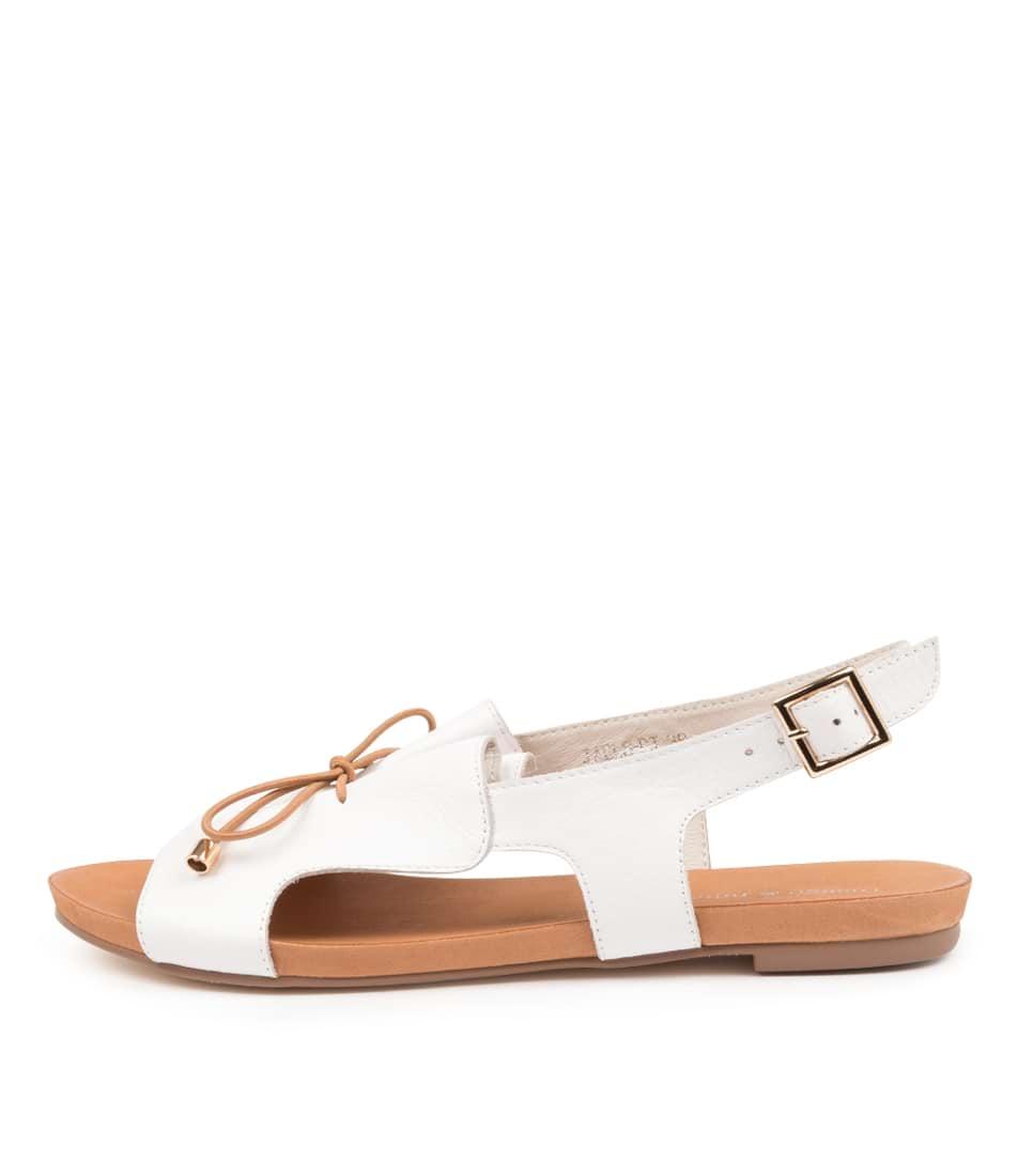 Buy Django & Juliette Jaels Dj White Tan Flat Sandals online with free shipping