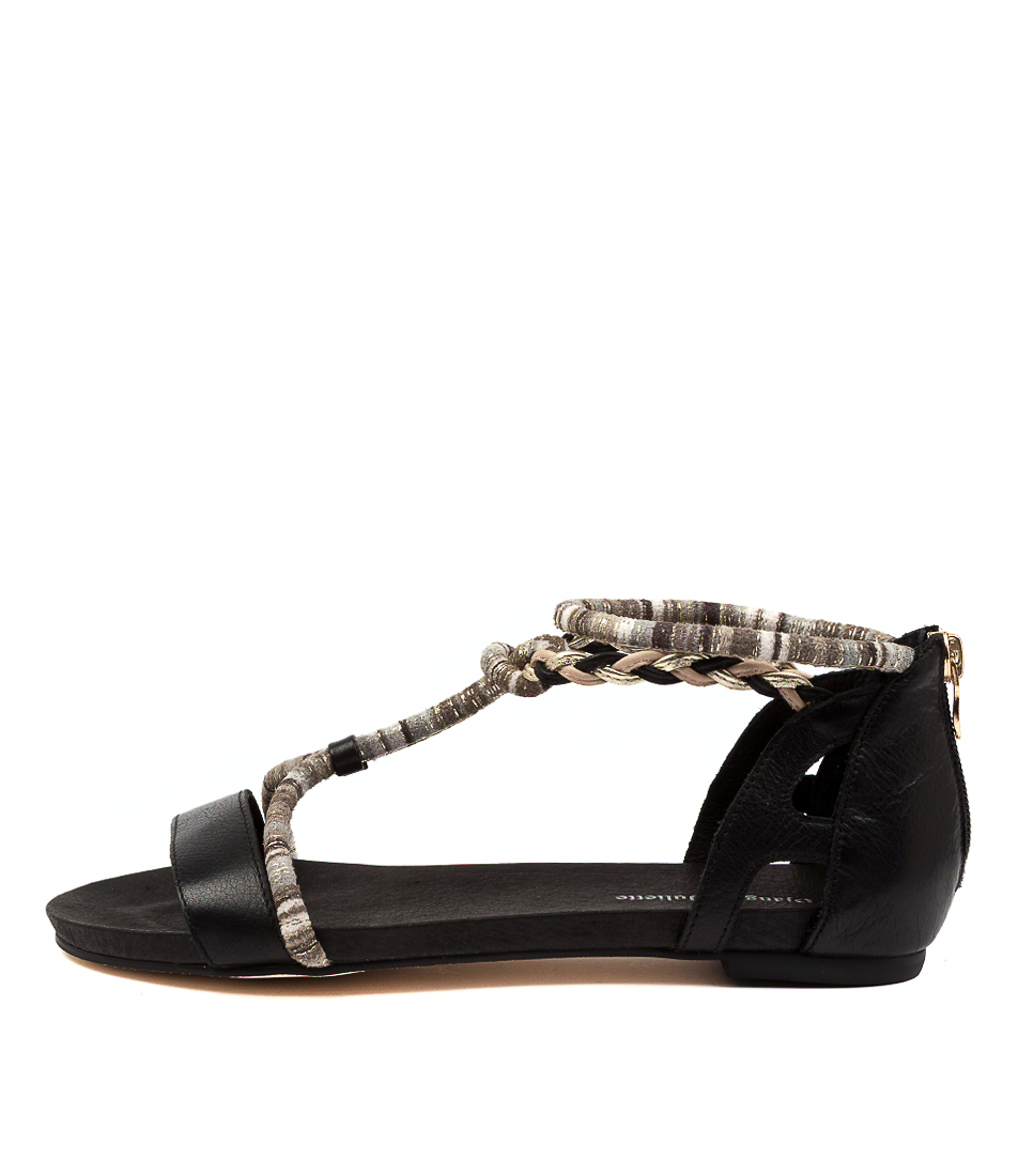 Buy Django & Juliette Joelle Dj Black Flat Sandals online with free shipping