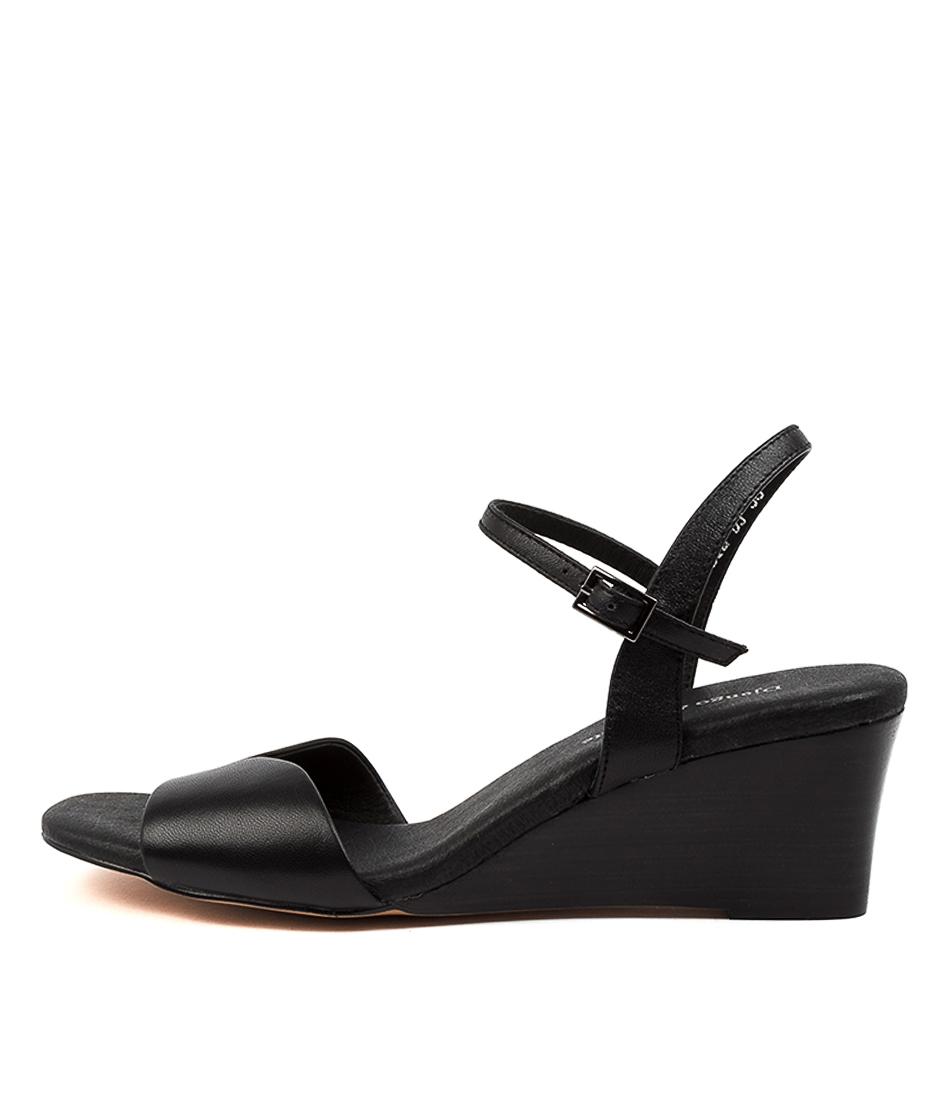 Buy Django & Juliette Lassie Dj Black Veneer Heeled Sandals online with free shipping