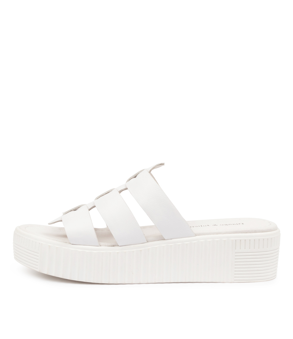 Buy Django & Juliette Lyndia Dj White White Sole Flat Sandals online with free shipping