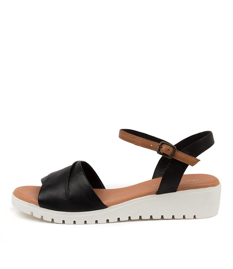 Buy Django & Juliette Mauro Dj Black Dk Tan White Sole Flat Sandals online with free shipping