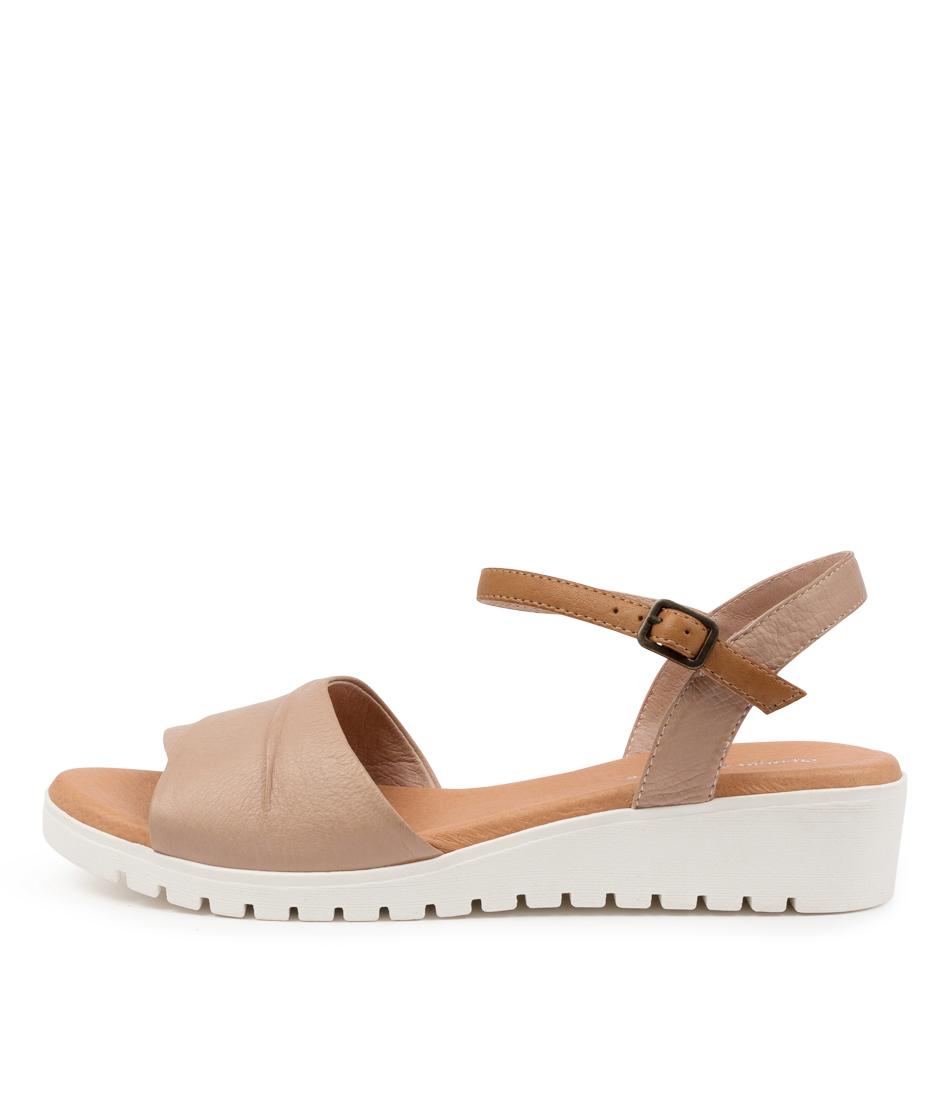 Buy Django & Juliette Mauro Dj Cafe Dk Tan White Sole Flat Sandals online with free shipping