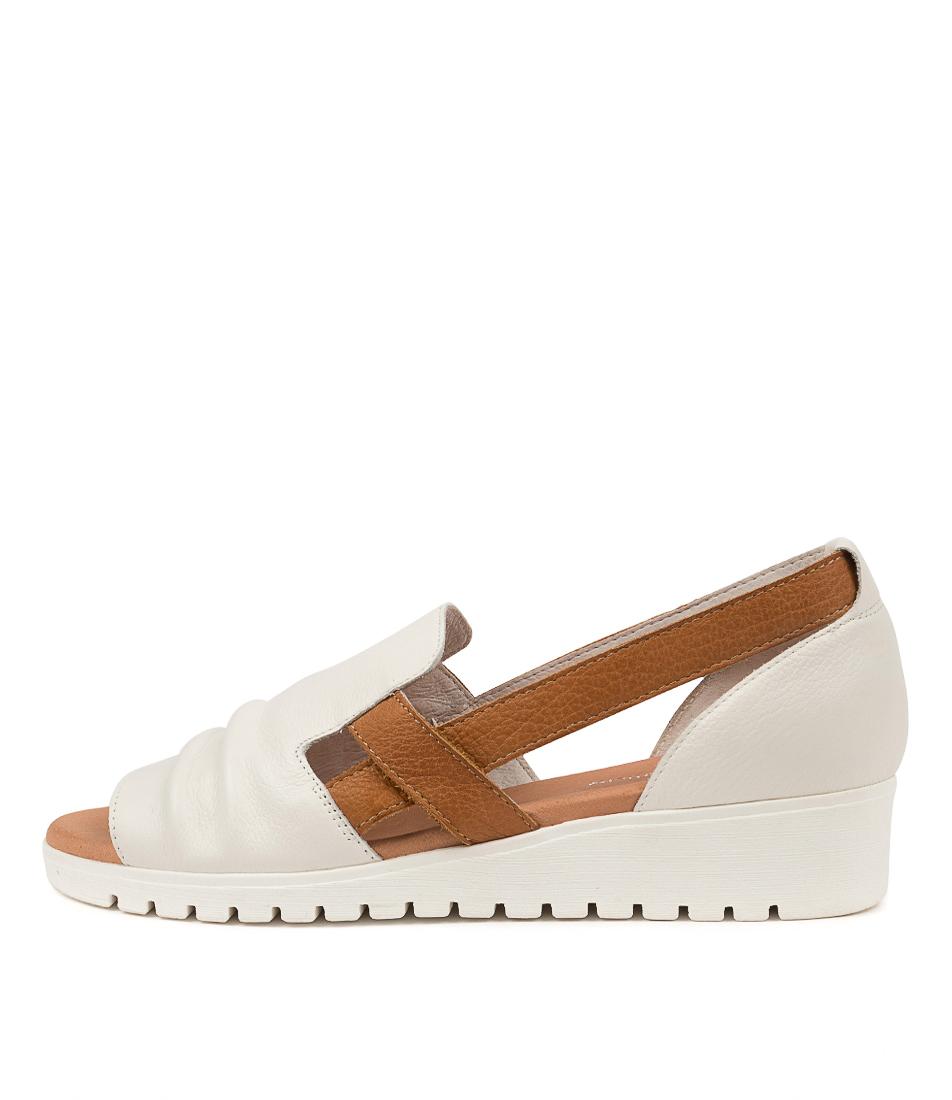 Buy Django & Juliette Mayar Dj White Dk Tan White Sole Flat Sandals online with free shipping