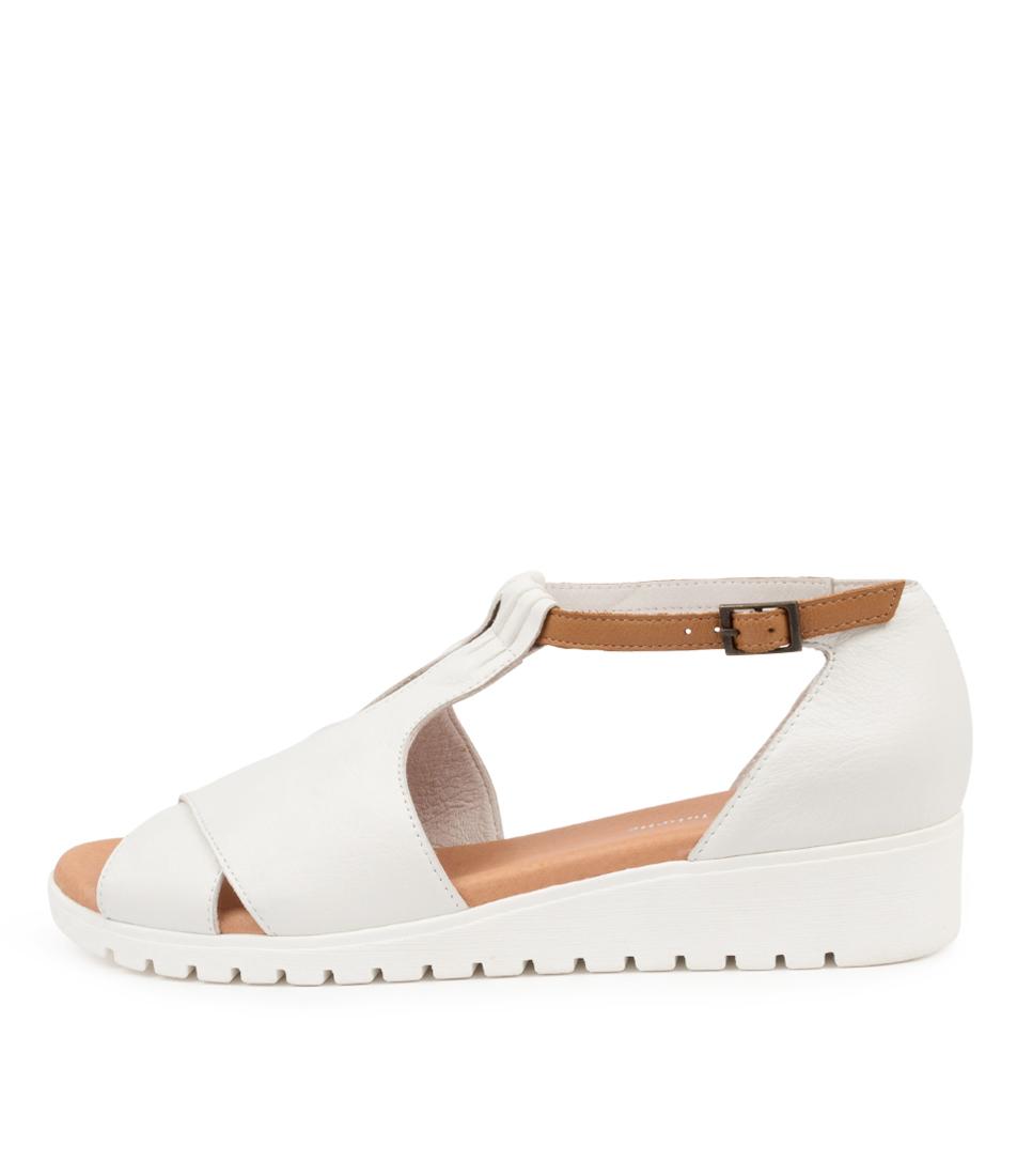 Buy Django & Juliette Mikeys Dj White Dk Tan White Sole Flat Sandals online with free shipping