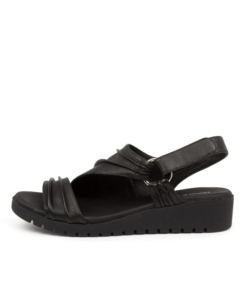Buy Django & Juliette Mollie Dj Black Sole Flat Sandals online with free shipping