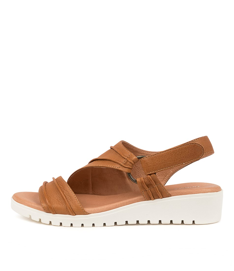 Buy Django & Juliette Mollie Dj Dk Tan White Sole Flat Sandals online with free shipping