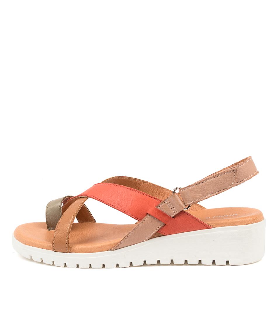 Buy Django & Juliette Mylah Dj Khaki Melon Flat Sandals online with free shipping