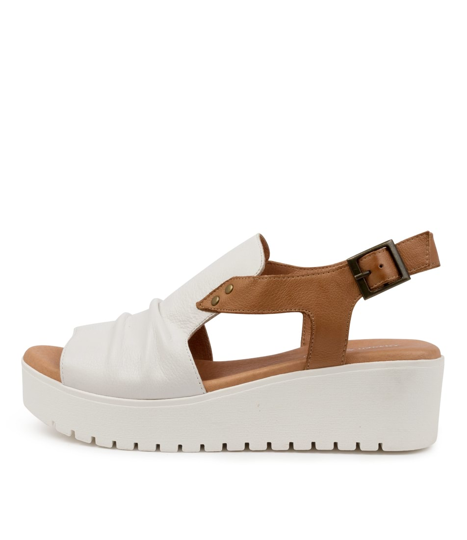 Buy Django & Juliette Oden Dj White Dk Tan White Sole Flat Sandals online with free shipping