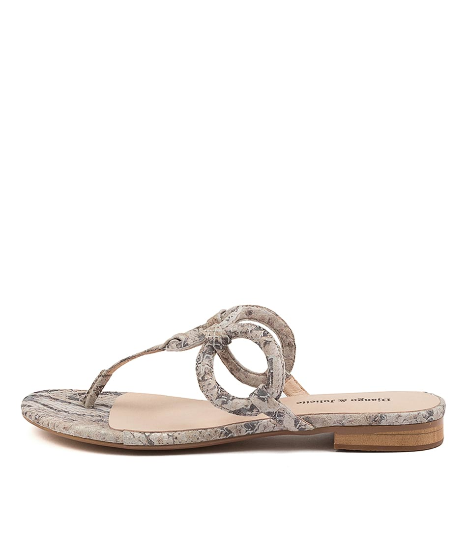 Buy Django & Juliette Pearly Dj Nougat & Gold Flat Sandals online with free shipping