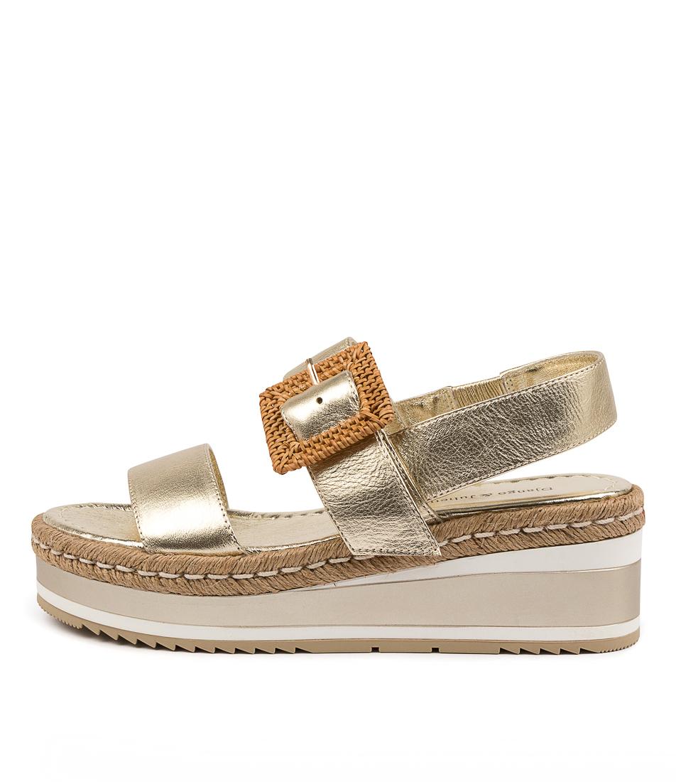 Buy Django & Juliette Prisha Dj Pale Gold Flat Sandals online with free shipping