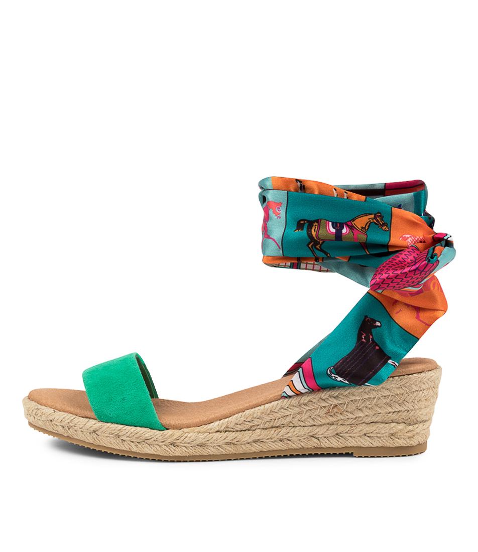 Buy Django & Juliette Sollie Dj Emerald Jade Mix Heeled Sandals online with free shipping