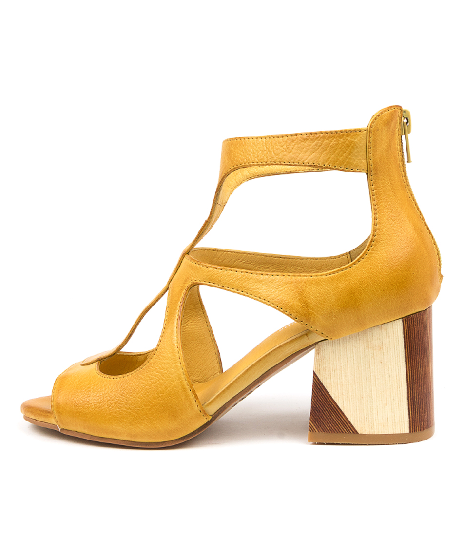 Buy Django & Juliette Velman Dj Dk Yellow Tan Heeled Sandals online with free shipping