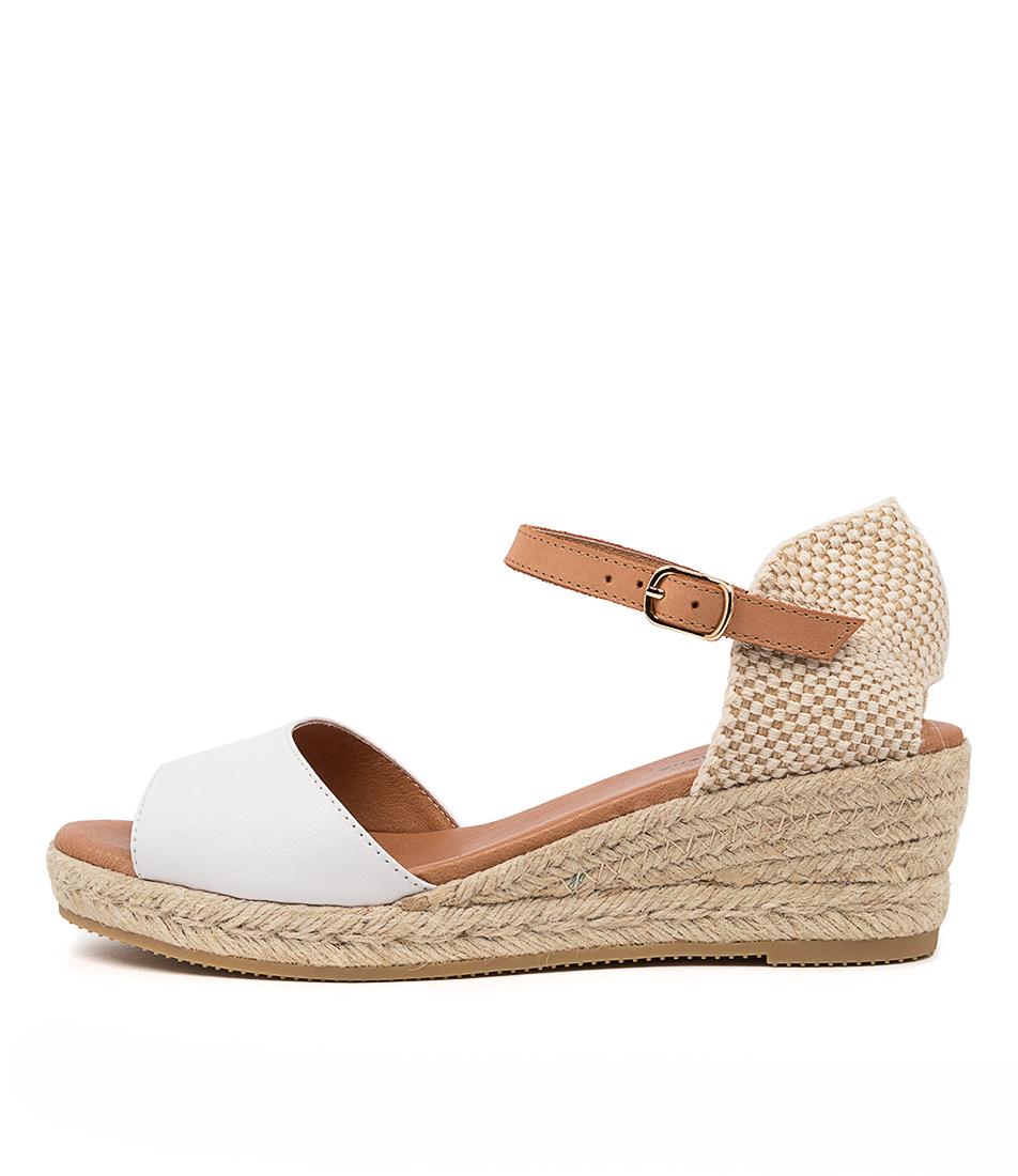 Buy Django & Juliette Suzy Djl White Lt Tan Heeled Sandals online with free shipping