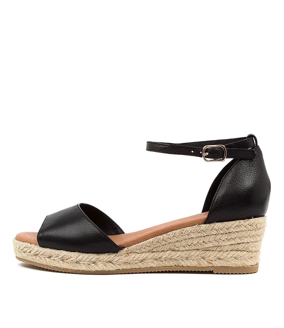 Buy Django & Juliette Skip Djl Black Natural Rope Heeled Sandals online with free shipping