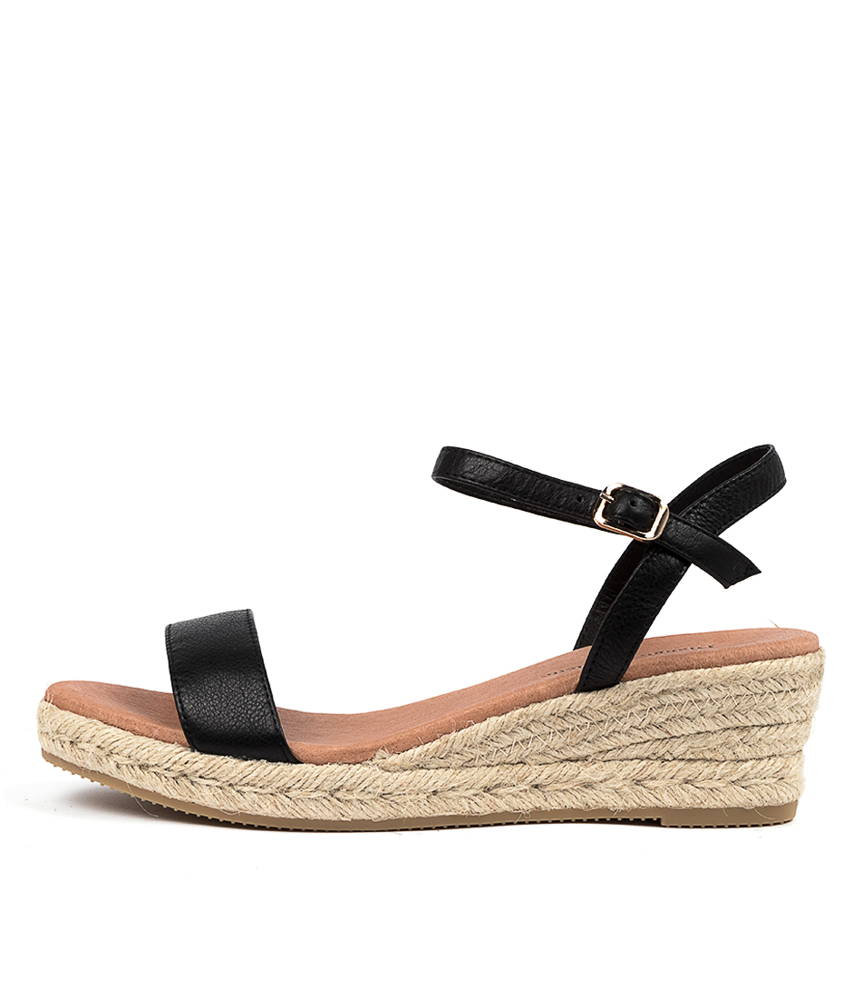 Buy Django & Juliette Shielay Djl Black Natural Rope Heeled Sandals online with free shipping